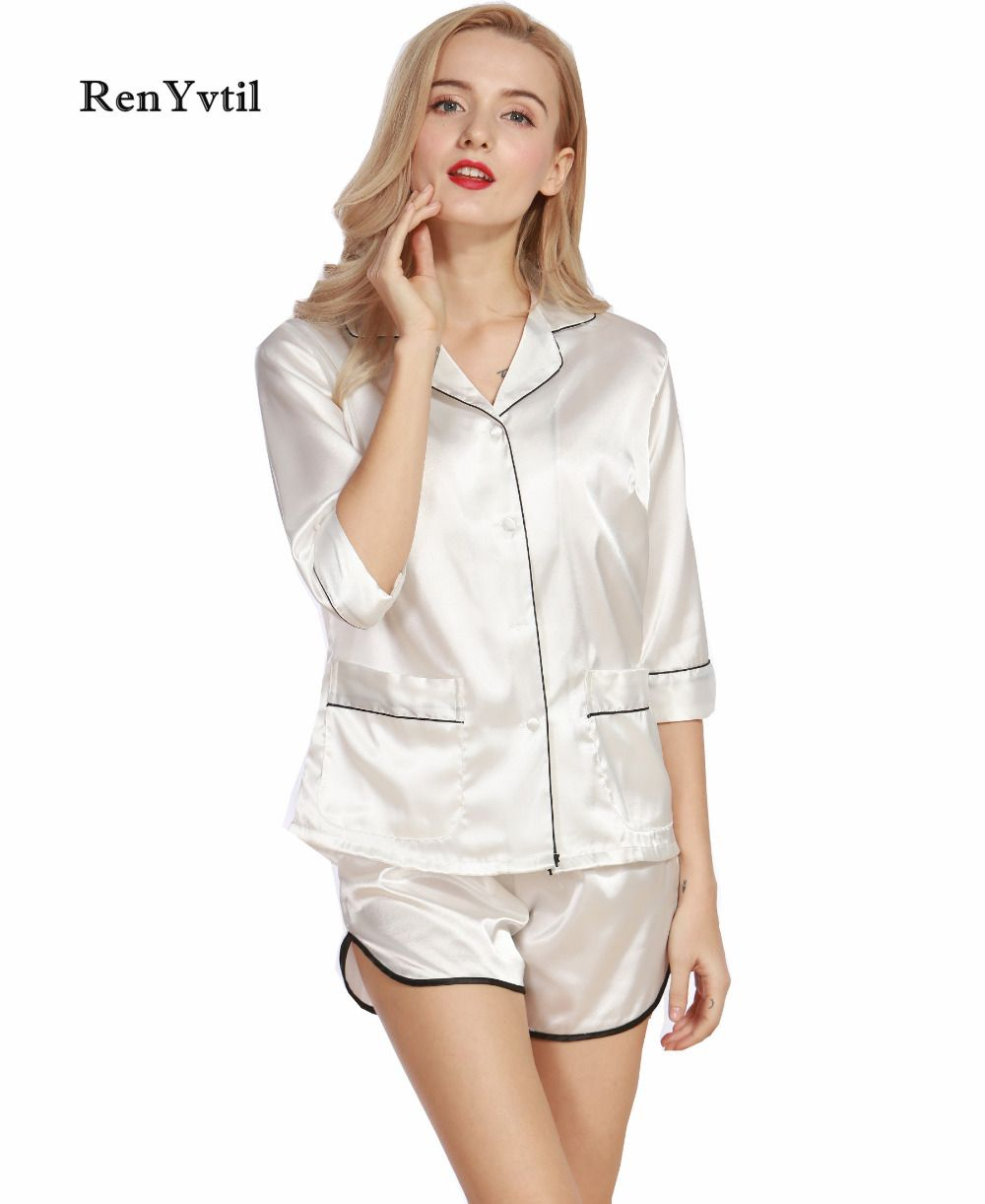 7f0d14bb7b RenYvtil Women Pajama Sets Summer 2017 Silky Ladies Pajamas Shorts 2 Pcs Set  Faux Silk Female