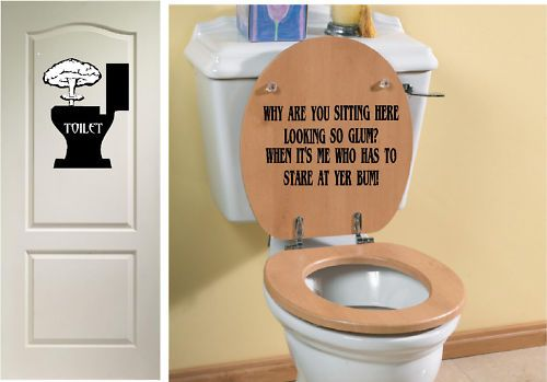 Funny Toilet Seat Vinyl Sticker Decal Door Sign Ebay Bathroom Decor Signs Vintage Bathroom Decor Funny Bathroom Decor