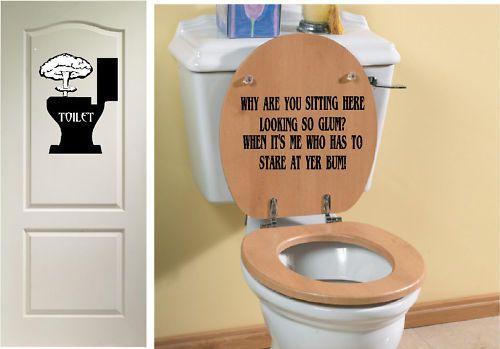 Fantastic Funny Toilet Seat Vinyl Sticker Decal Door Sign Ebay In Machost Co Dining Chair Design Ideas Machostcouk