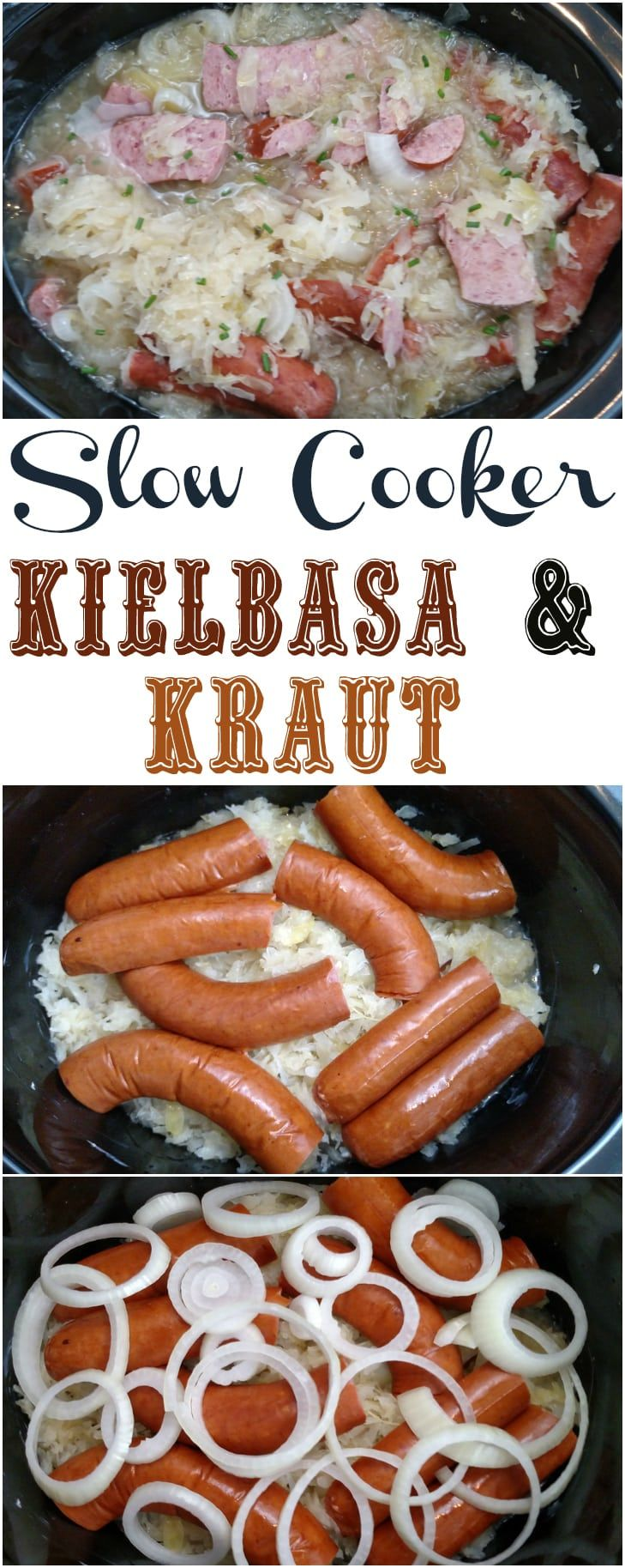 5-Ingredient Crock Pot Kielbasa and Sauerkraut #slowcookercrockpots
