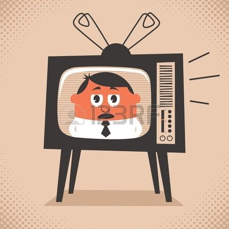 Cartoon illustration of retro television set broadcasting the news No transparency and gradients use Stock Vector