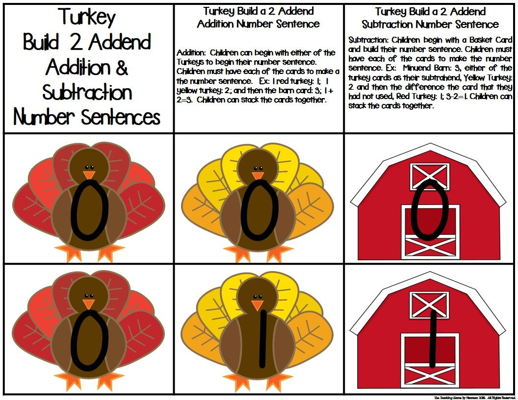 Turkey Build A 2 Addend Number Sentence Math Center Game