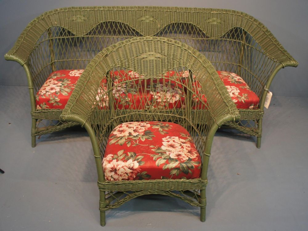 Antique Heywood Wakefield Style Green Wicker Sofa And Arm Chair Floral  Cushions