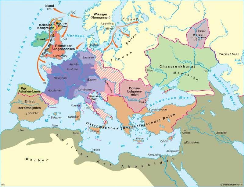 Europa Zur Zeit Karls Des Grossen Geographie Karte Kartenansicht