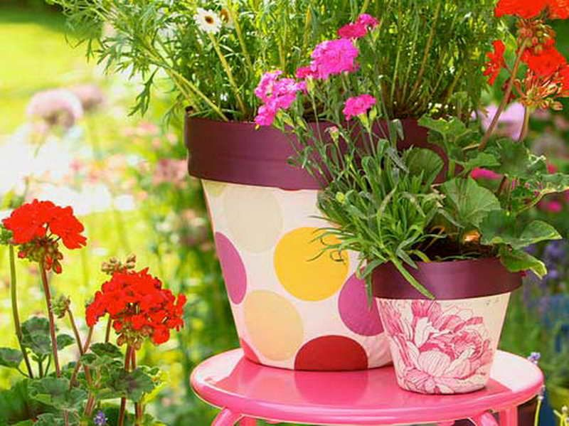 flower pot ideas | Gardening Flower Pots Decoration Ideas with beautiful pot