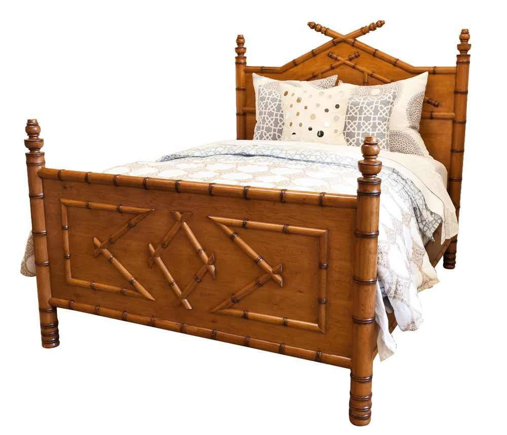 Faux Bamboo Bed Queen In Honey Finish Jpg Bamboo Bedding