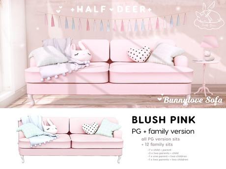 Second Life Marketplace - +Half-Deer+ Bunnylove Sofa [Blush Pink - Family]