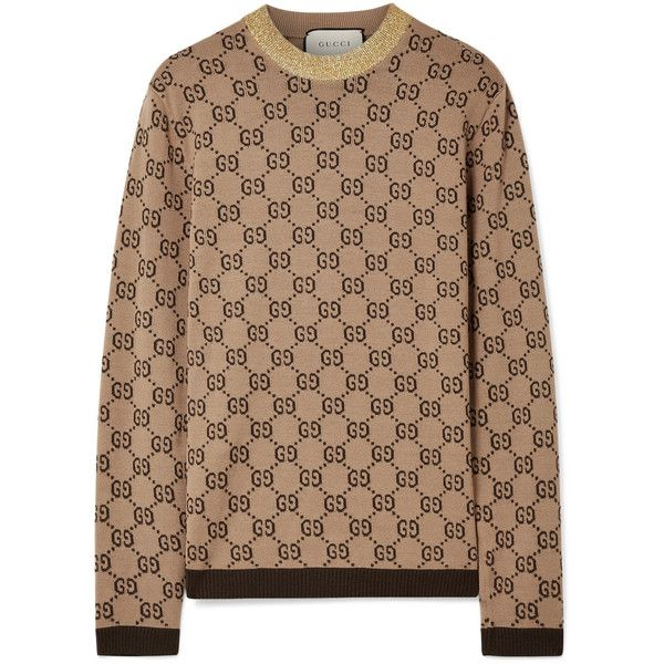 9a305289e Gucci Metallic-trimmed intarsia wool sweater ($1,100) ❤ liked on Polyvore  featuring tops, sweaters, beige sweater, camel top, beige top, metallic top  and ...