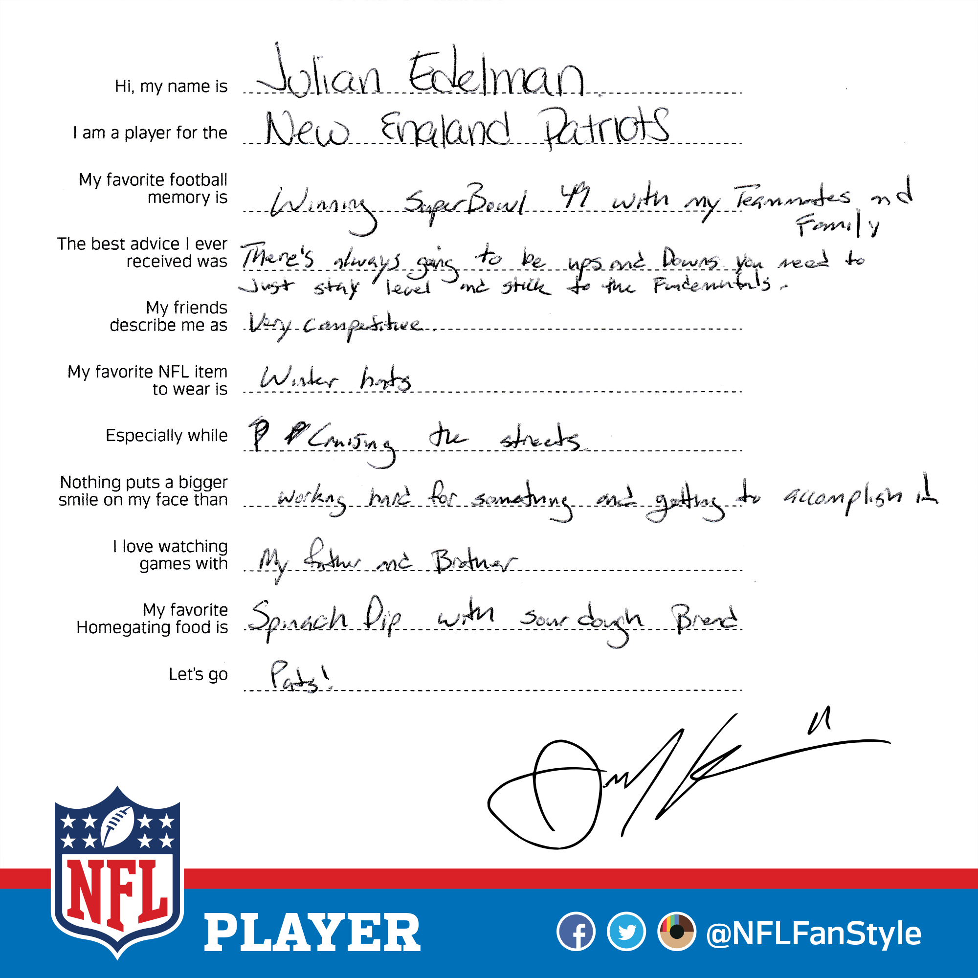 New England Patriots Wr Julian Edelman Is A Competitive Player And Hard Worker Who When He S Not Hauling In Tds Enjoys New England Patriots Patriots England