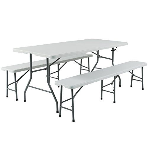 Best Choice Products 3pc Portable 6 Folding Table And Bench Set Combo Resin