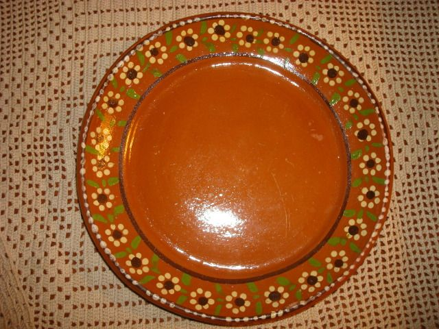 Vintage Mexican Pottery Red Clay Ware Plate Coupe Yellow