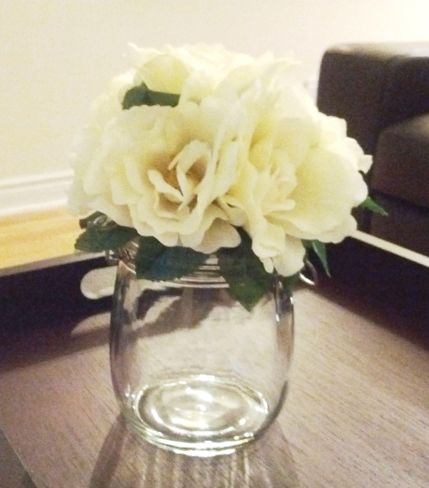 Mason Jar Bunch Of Artificial Flowers From Dollarama Glue Gun