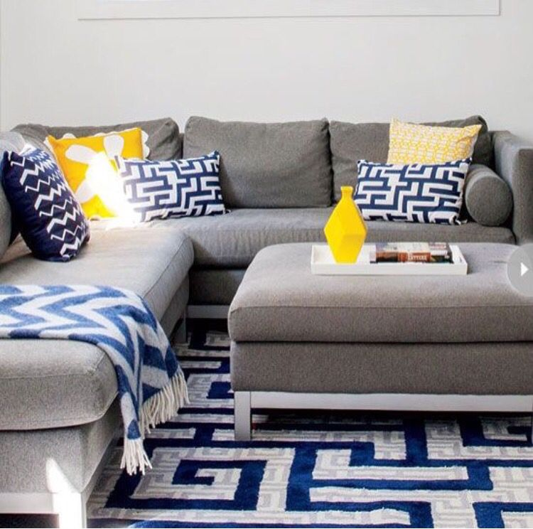 Grey And Blue Decor With Yello Pop Of Color: Master Bedroom In 2019