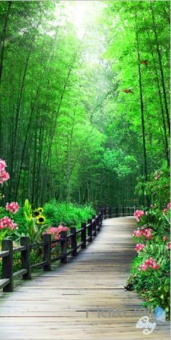 3D Bamboo Tree Flower Lane Corridor Entrance Wall Mural Decals Art Print Wallpaper 069