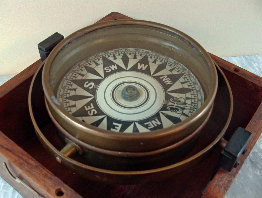 Antique Dry Card Compass In Mahogany Box Skipjack Nautical Wares Mahogany Compass Antiques