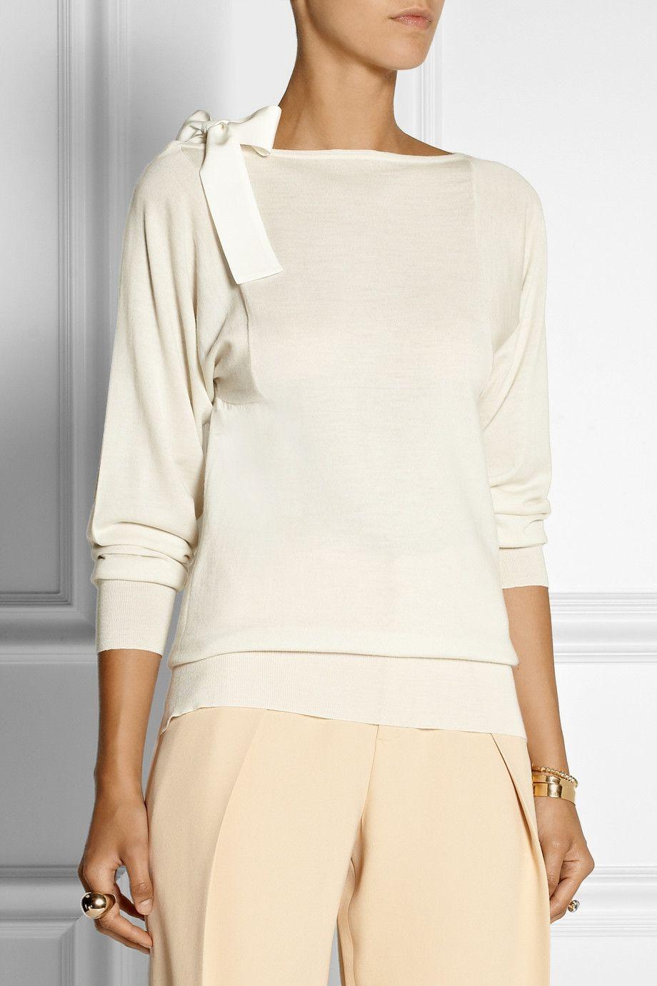 46e2874ca71a85 Vionnet Silk-Trimmed Fine-Knit Merino Wool Sweater in White | Lyst ...