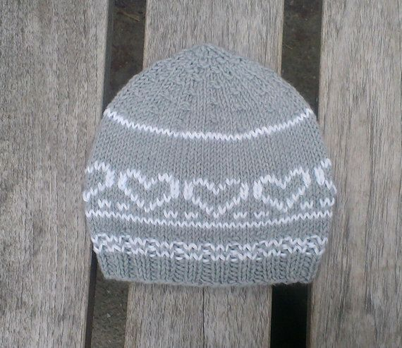 gray knit baby hat wool baby beanie nordic by UniqueKnitDesign