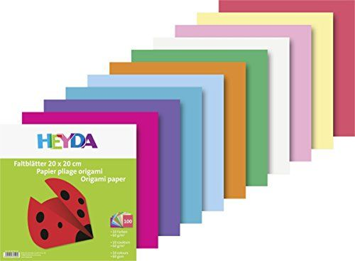 Heyda 204875520 Origami Paper 20 X 20 Cm Assorted Colours 60 G M2 Pack Of 100 Sheets Origami Paper Origami Paper