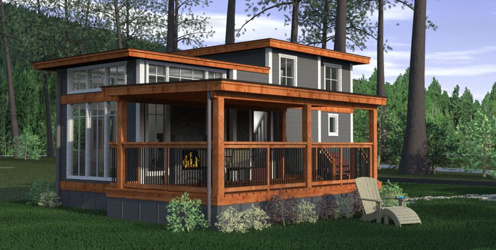 Small Tiny Bungalow House Model A67: Salish Cottage Design, Wildwood Lakefront Cottages, Lake