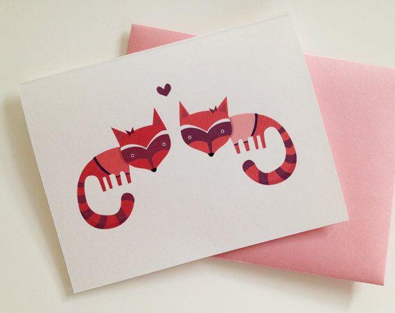 Girl Raccoon Love Card. $4.00, via Etsy.