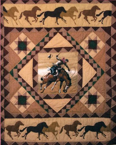 Cowboy Quilted Throw Boys Will Love This Horse And Cowboy