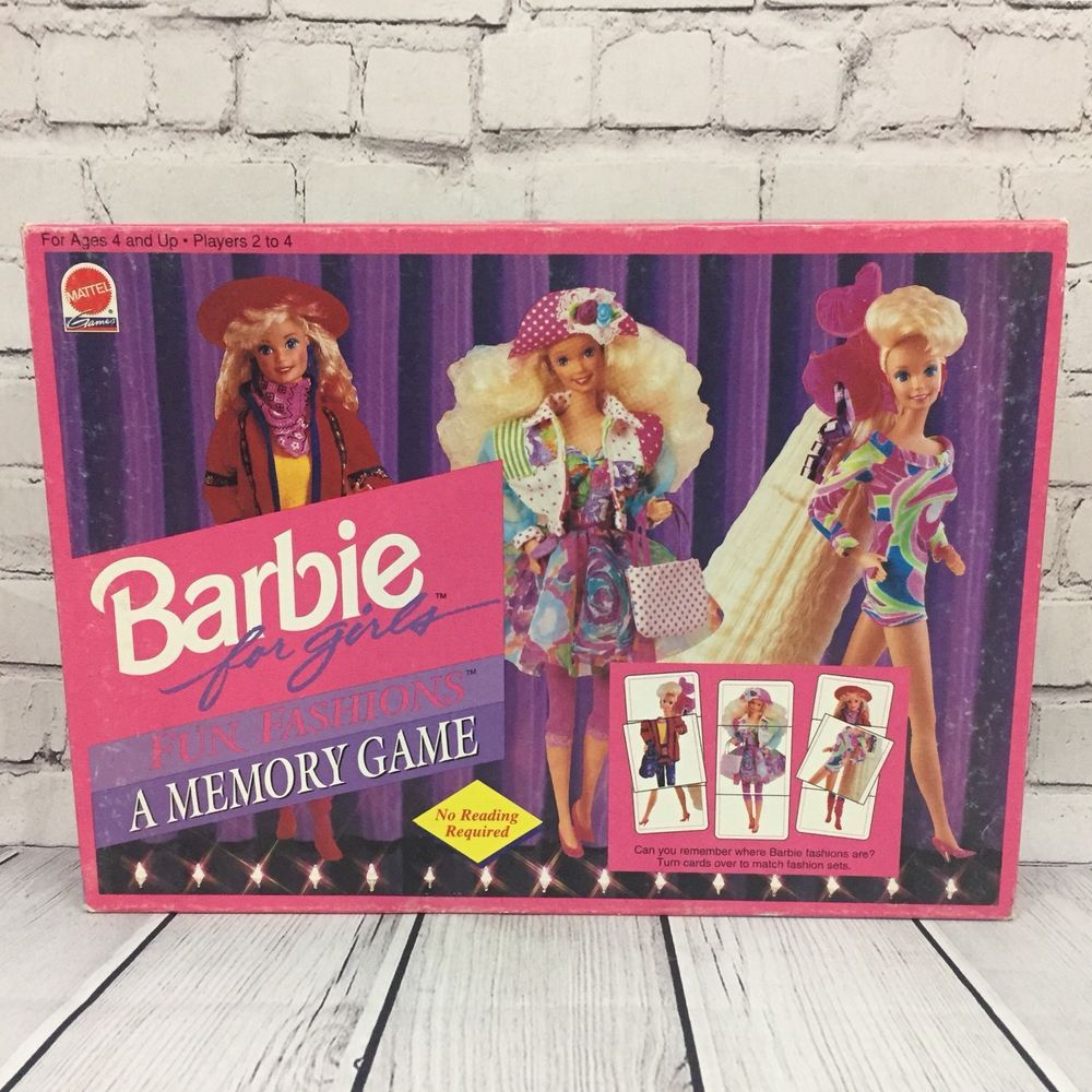 Vintage 1992 Barbie For Girls Fun Fashions A Memory Matching Game Mattel 3665 Ebay Barbie Cool Girl Cool Style