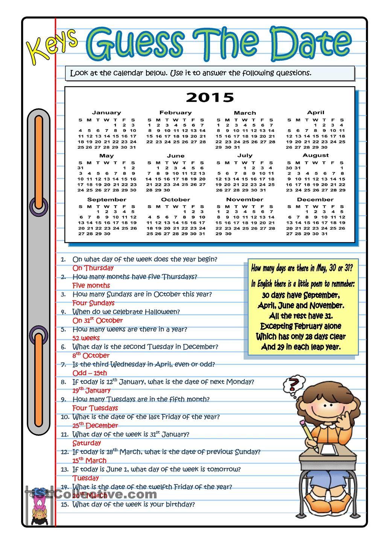 GUESS THE DATE - 2015 | Math | Pinterest