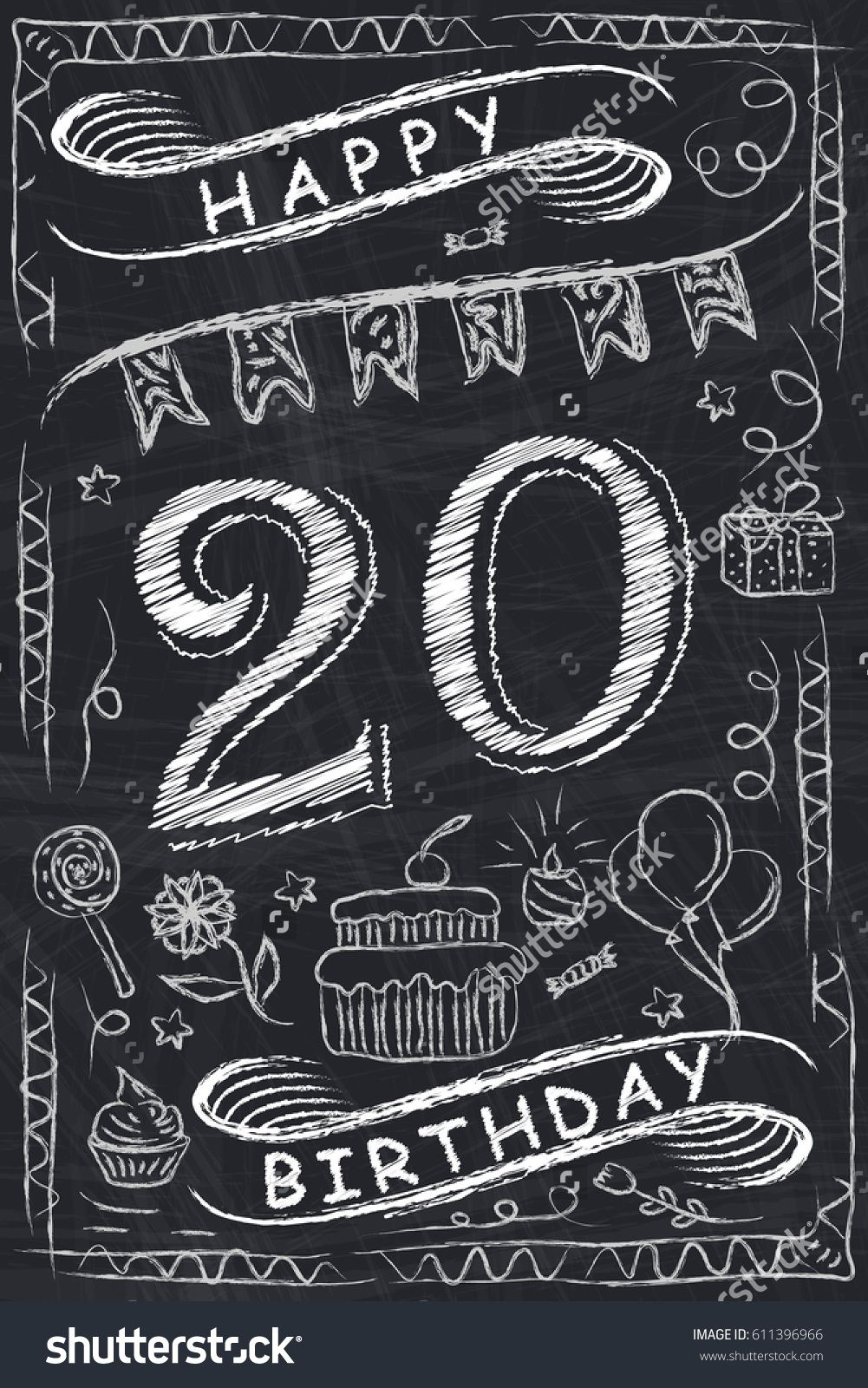 Anniversary Happy Birthday Card Design On Chalkboard 20 Years