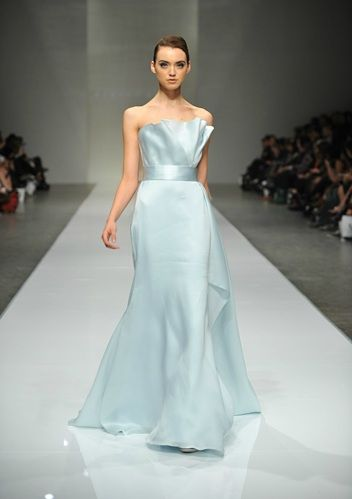 The dress as something blue? Why not!? Romona Keveza Autumn 2011 Bridal Collection.