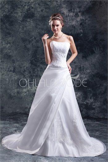 Robe de mariée A-ligne sublime en taffetas décorée d´applique 2015