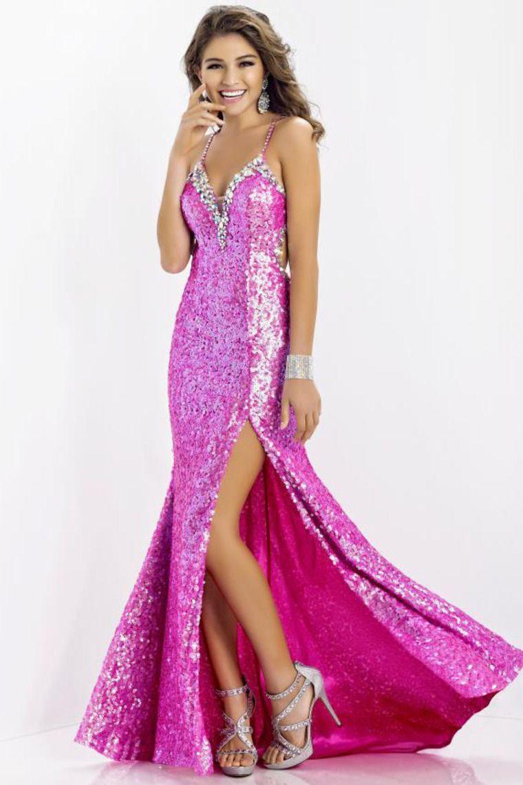 Shiny V Neck Spaghetti Straps Prom Dress Open Back Sexy Style | Pink ...