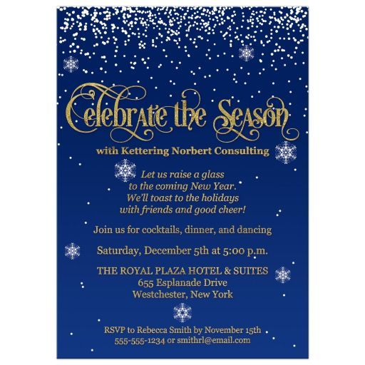 Celebrate The Season Corporate Party Invite Navy Gold Faux Foil Glitter Falling Snow In 2021 Party Invite Template Office Party Invitations Work Christmas Party