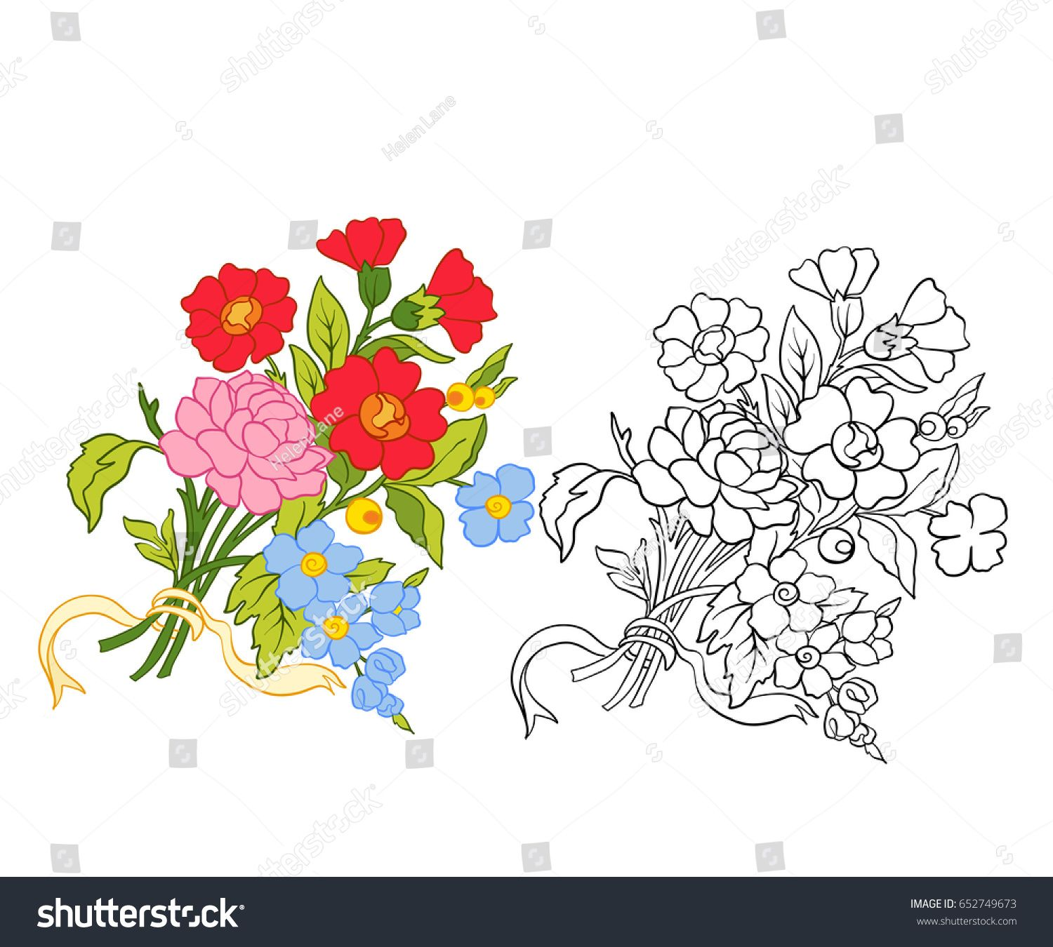 Set of outline and colored vintage flowers bouquet or pattern set of outline and colored vintage flowers bouquet or pattern izmirmasajfo