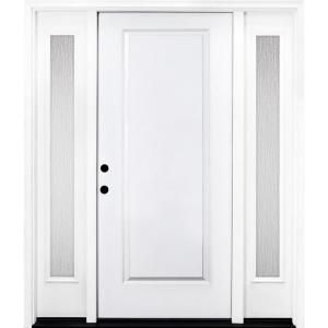 Steves Sons 64 In X 80 In Classic 1 Panel Rhis Primed White Steel Prehung Front Door With Double 12 In Rain Glass Sidelites St10 Pr D12rn 4rh Rain Glass White Doors Glass Panel Door