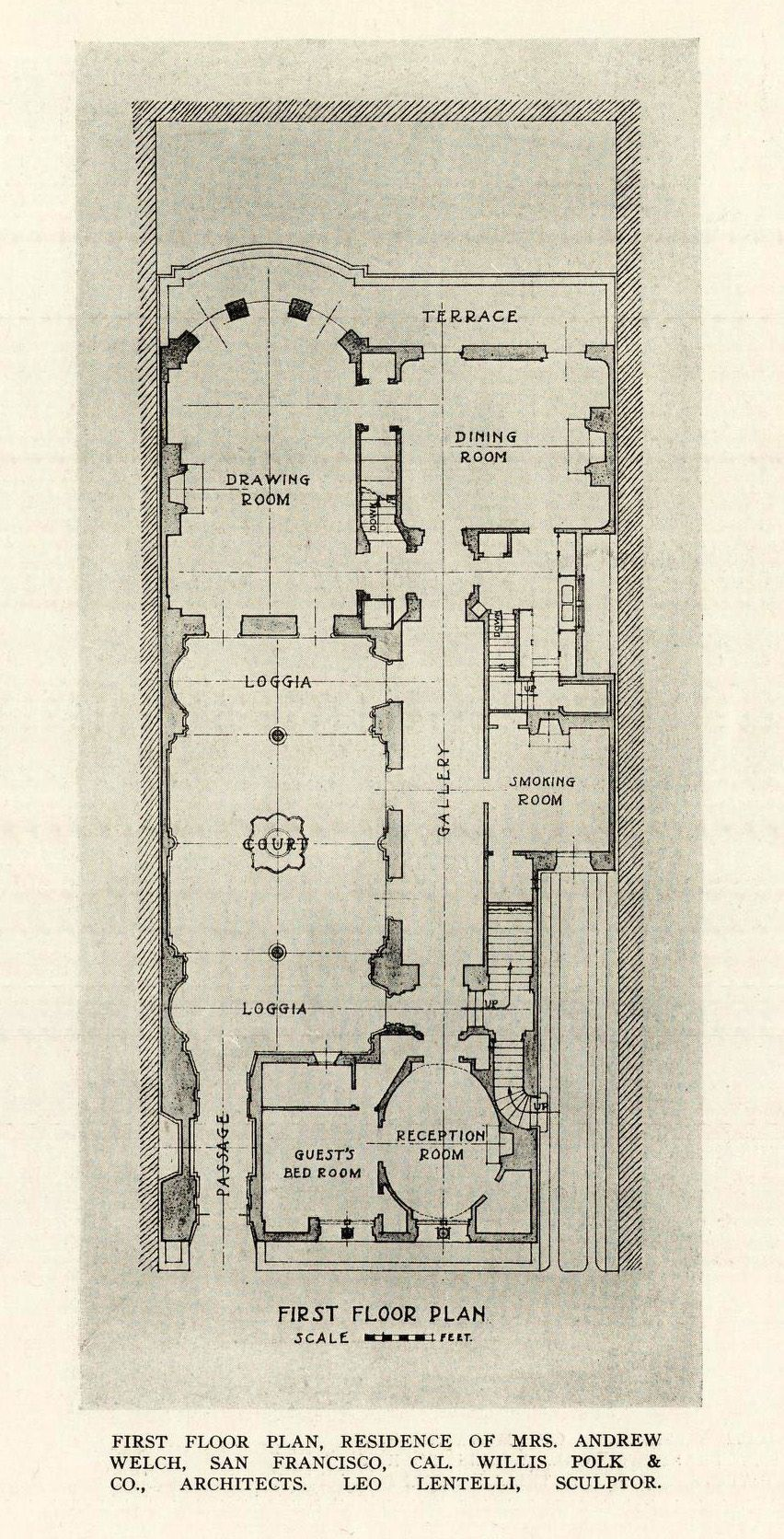 First Floor plan of Mrs Andrew Welch Residence San Francisco – Fort Irwin Housing Floor Plans