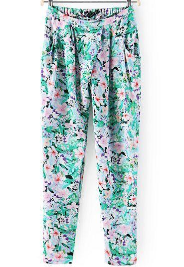 Elastici pantaloni a fiori-verde 8.09