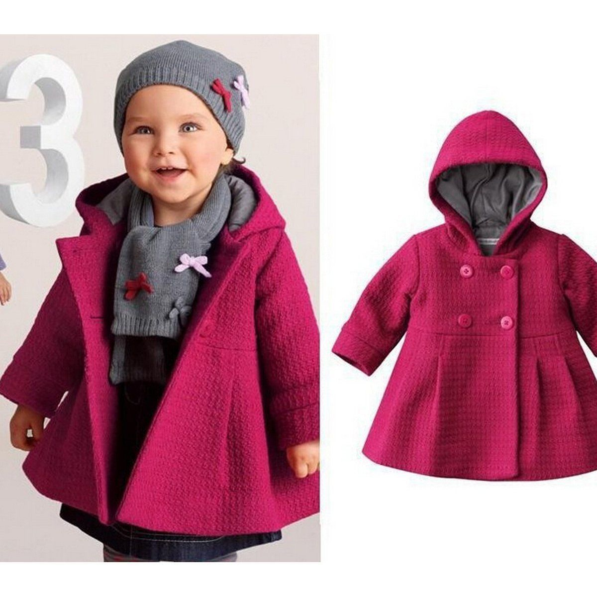 e9f015bc4  13.99 - Toddler Kids Baby Girls Winter Warm Trench Coat Hooded ...