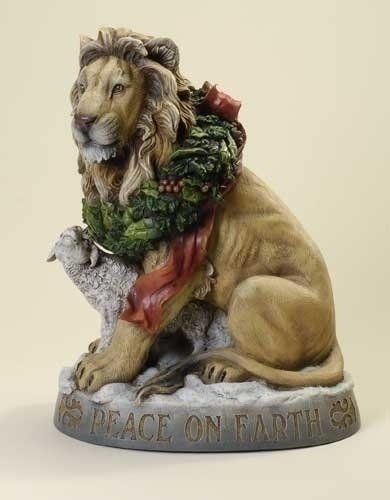 """Christmas Collection, Lion & Lamb with Christmas Wreath, Peace on Earth. 19.25"""" H by Roman, http://www.amazon.com/dp/B00916E4K6/ref=cm_sw_r_pi_dp_IQyCqb0ZKT1FG"""