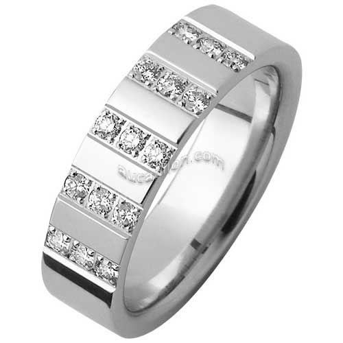 Alliance Mémoire 5.5mm or blanc 18 carats 15 diamants sertis en 3 rangées.  Cette dcf3e23c50