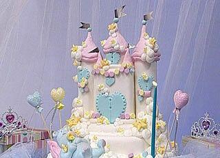 Pastel fairytale castle cake