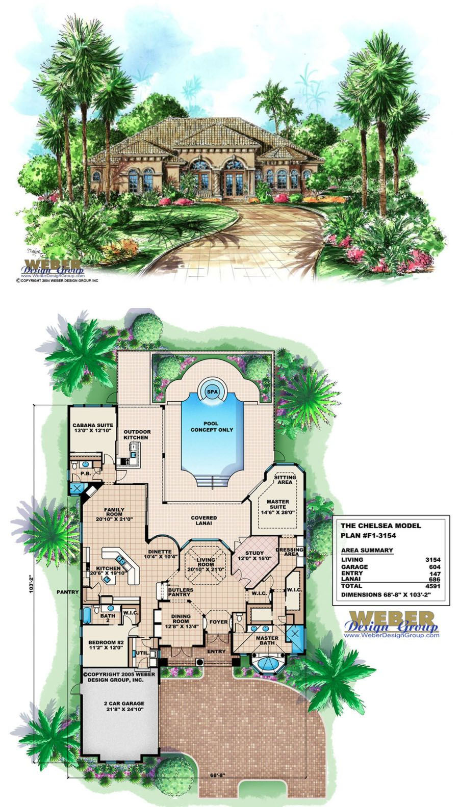 Tuscan House Plan Mediterranean Tuscan Home Floor Plan With Cabana Tuscan House Plans Tuscan House House Plans