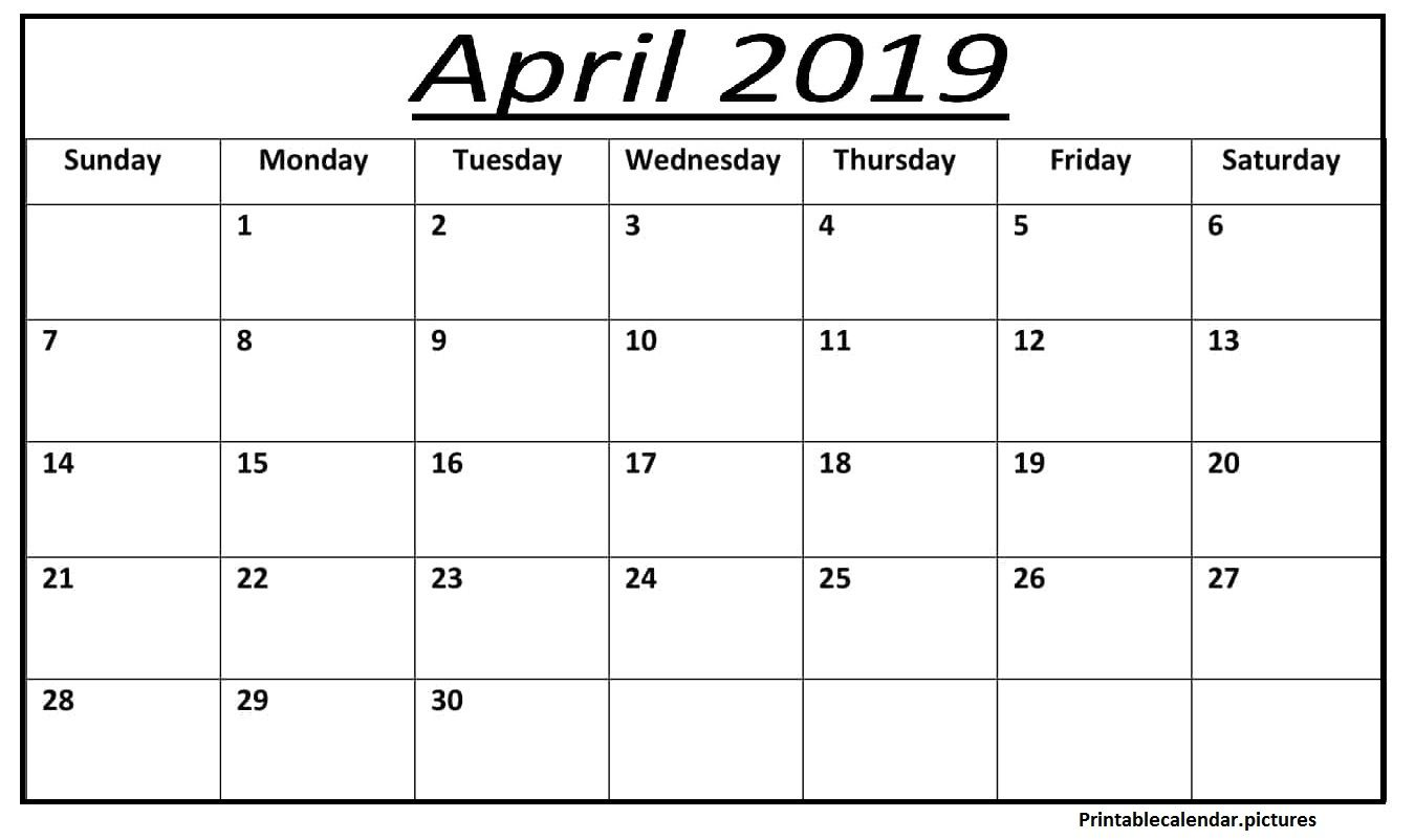 Printable Blank Calendar For April April Blank