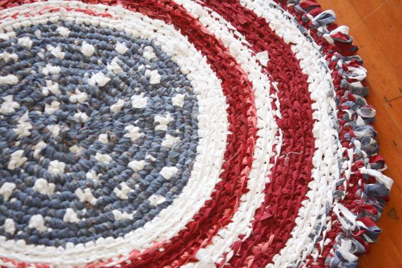 Red White And Blue Americana American Area Rug