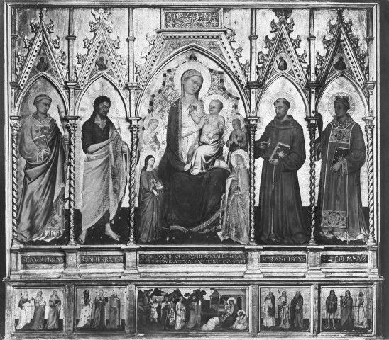 Niccolò di Pietro Gerini e Jacopo di Cione - Madonna col Bambino in trono tra angeli e santi - 1383 - Chiesa dei Santi Apostoli, Firenze