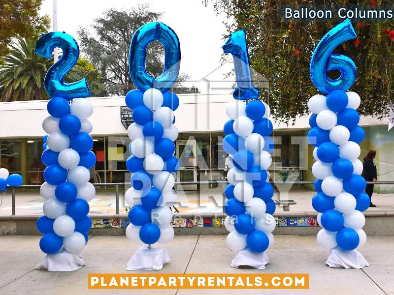 Balloon Columns Spiral Design With Royal Blue And White Balloons