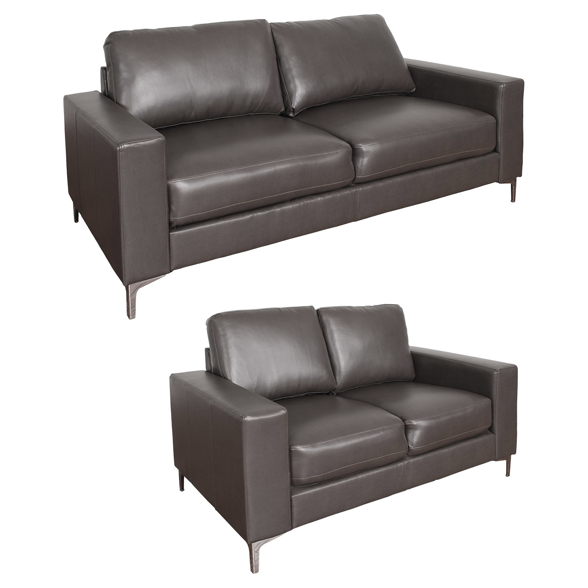 Cory 2pc Contemporary Brownish Gray Bonded Leather Sofa Set