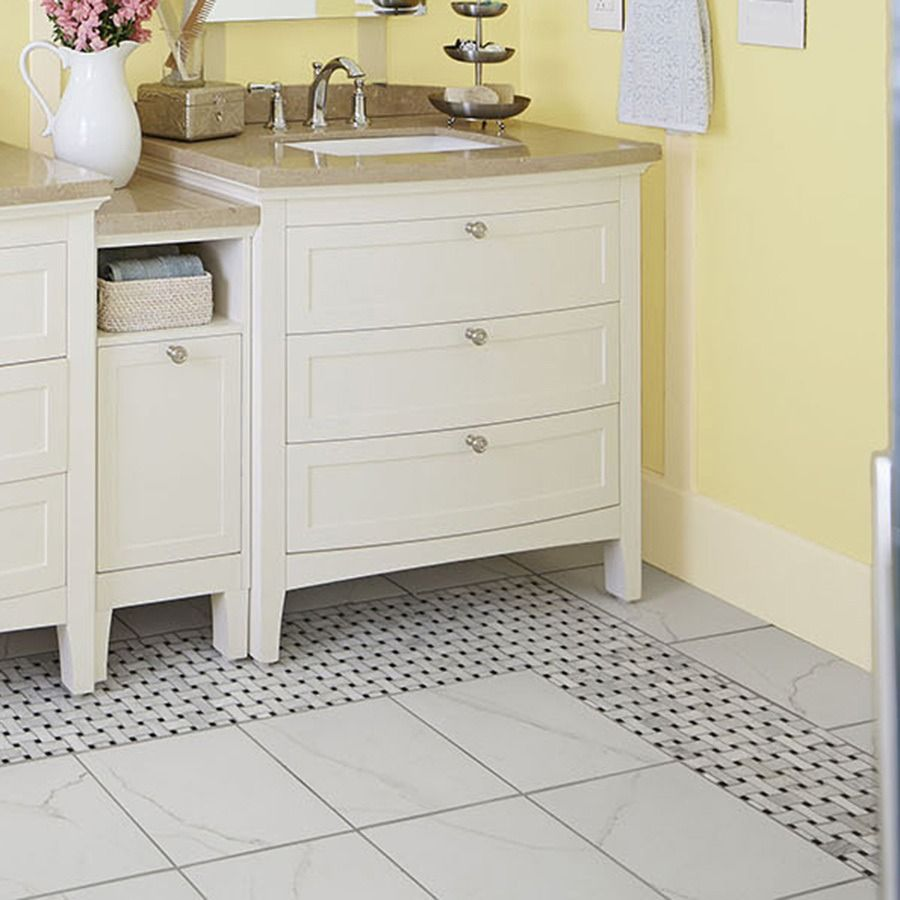 Add timeless luxury to your bathroom with marble mosaic floor tile add timeless luxury to your bathroom with marble mosaic floor tile in a basketweave pattern doublecrazyfo Gallery