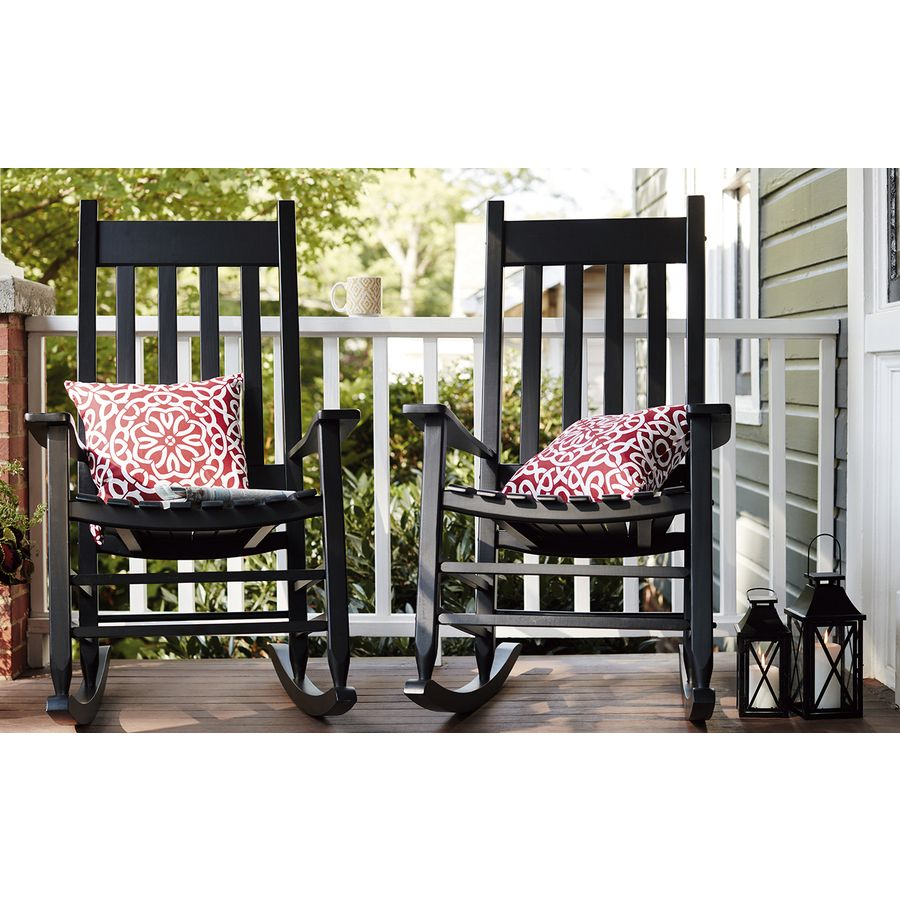 Lowes Outdoor Rocking Chair Shop Garden Treasures Black Patio Rocking Chair At Lowes