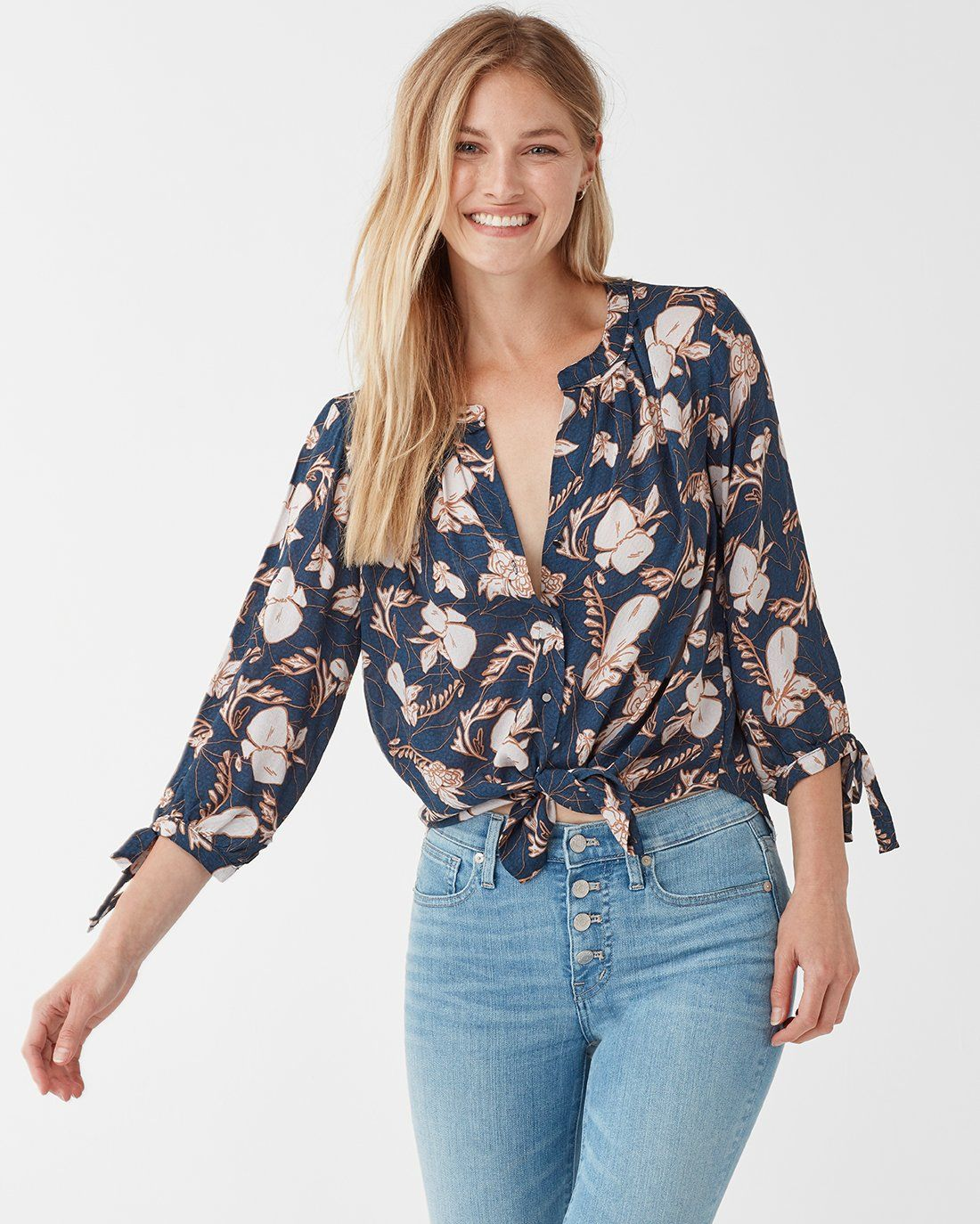 dbea3a2db061c Ramo Floral Print Tie Sleeve Blouse