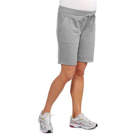Danskin Now Maternity French Terry Bermuda Shorts, Size: Small, Gray